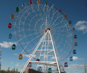Amusement park big ferris wheel ride in Beston